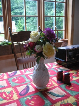 Flowers on the table from our garden