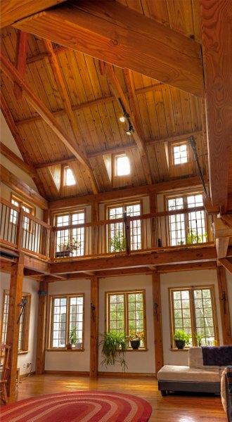Timber frame living room